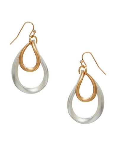 Garbo Wavy Teardrop Earrings-TWO TONE-One Size