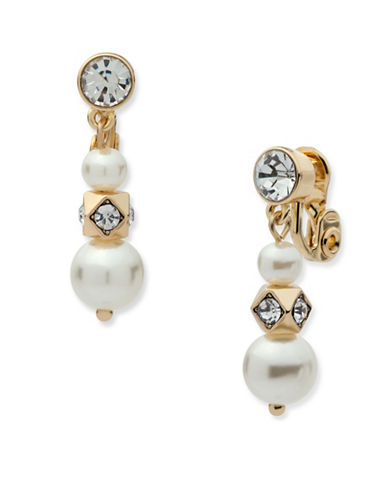 Anne Klein Chian Faux Pearl Drop Earrings-WHITE-One Size
