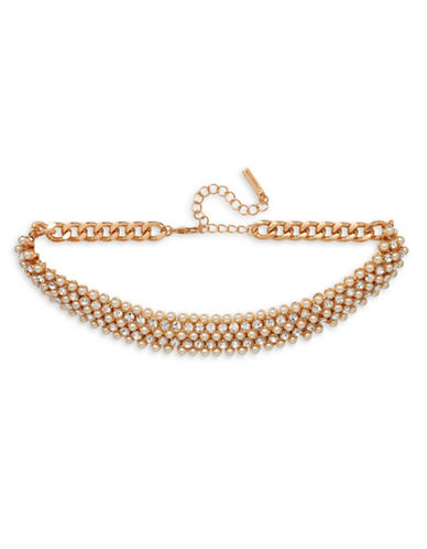 Cezanne 4mm Pearl and Goldtone Choker Necklace-GOLD-One Size