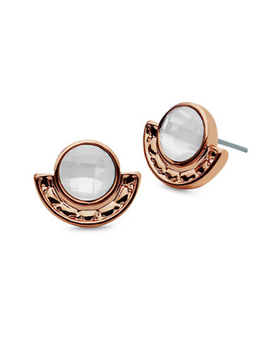 Lonna & Lilly Hanging Blossoms White Opal Rose Goldtone Stud Earrings-WHITE-One Size