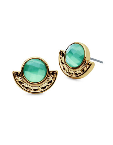 Lonna & Lilly Hanging Blossoms Pacific Opal Rose Goldtone Stud Earrings-GREEN-One Size