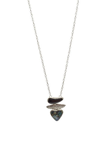 Garbo Three-Pendant Necklace-BLUE-One Size