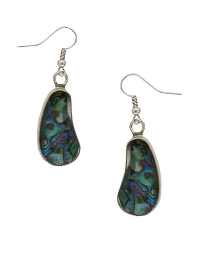 Garbo Flat Edge Kidney Drop Earrings-BLUE-One Size