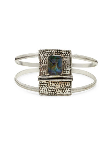Garbo Two-Piece Stone Cuff-SILVER-One Size