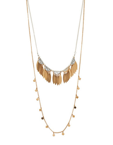 Garbo Two-Tone Fringe Necklace-TWO TONE-One Size