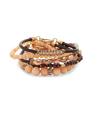 Canvas Eclectic Mixed Bracelet Set-CORAL-One Size