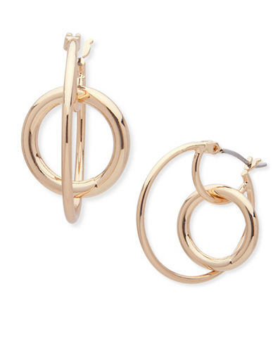 Anne Klein Modern Metals Hoop Earrings-GOLD-One Size