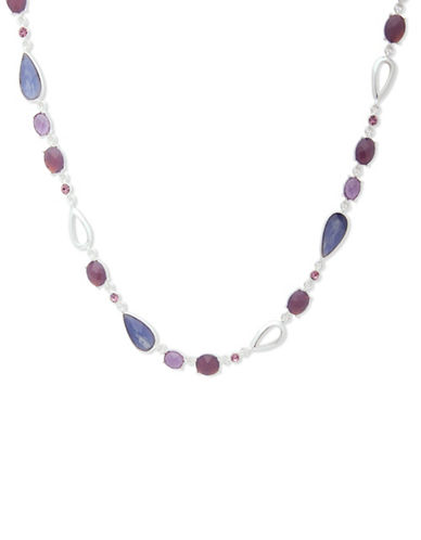 Anne Klein Aventura Pave Single Strand Necklace-PURPLE-One Size