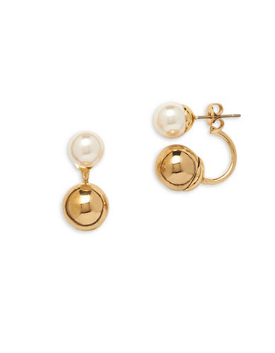 Anne Klein Pearlfect Faux Pearl Crawler Earrings-WHITE-One Size