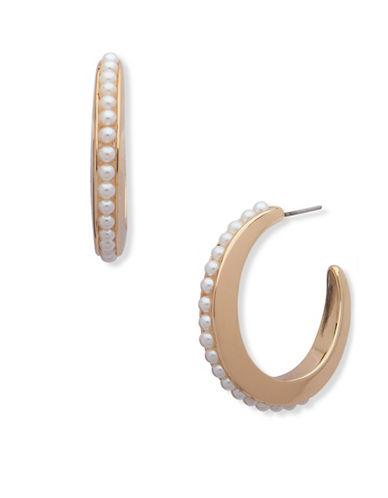 Anne Klein Pearlfect Faux Pearl Hoop Earrings-WHITE-One Size