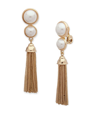 Anne Klein Pearlfect Faux Pearl Chain Dangle and Drop Earrings-WHITE-One Size