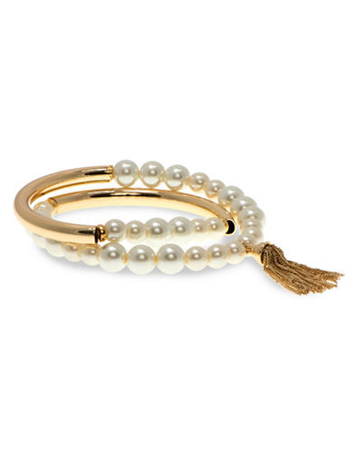 Anne Klein Pearlfect Faux Pearl Wrap Bracelet-WHITE-One Size