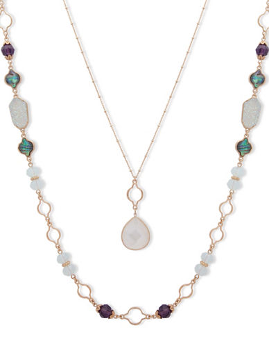 Lonna & Lilly Orchid Skys Goldtone Beaded Necklace-BLUE-One Size