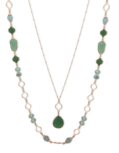 Lonna & Lilly Orchid Skys Beaded Necklace-GREEN-One Size