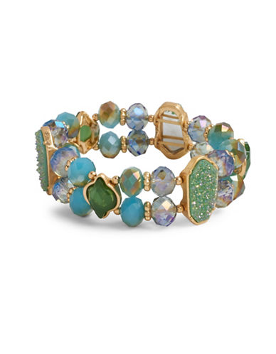 Lonna & Lilly Orchid Skys Goldtone Green Jade, Pacific and Golden Blue Opal Beaded Stretch Bracelet-GREEN-One Size