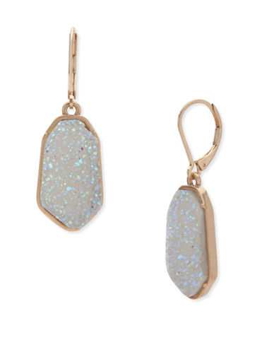 Lonna & Lilly Orchid Skys Goldtone White Opal Drop Earrings-WHITE-One Size