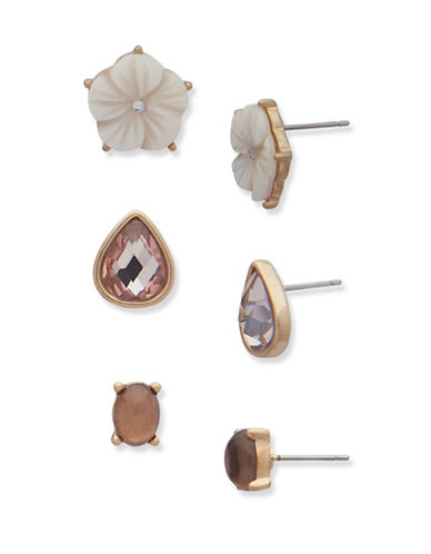 Lonna & Lilly Autumn Sunrise Trio Stud Earrings Set-ASSORTED-One Size