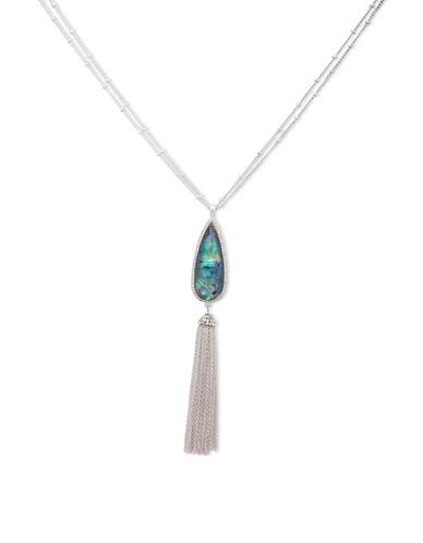 Lonna & Lilly Fallen Leaves Silvertone Tassle Pendant Necklace-BLUE-One Size