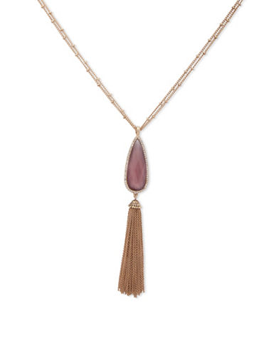 Lonna & Lilly Fallen Leaves Goldtone Tassle Pendant Necklace-PINK-One Size
