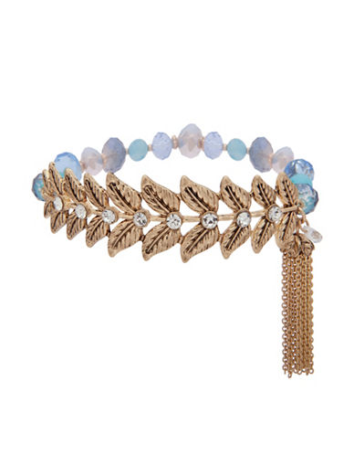 Lonna & Lilly Fallen Leaves Beaded Tassle Bracelet-BLUE-One Size