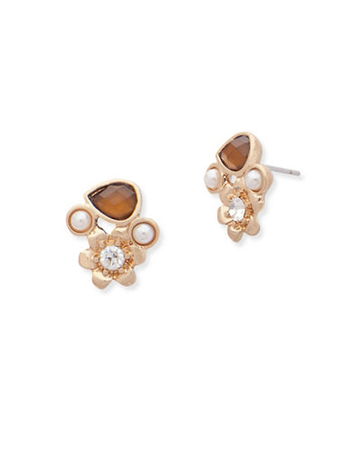Lonna & Lilly Fallen Leaves 3mm Pearl and Topaz Cluster Stud Earrings-BROWN-One Size