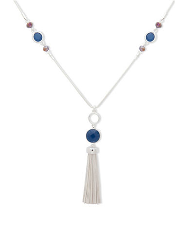 Nine West May Garden Glow Tassel Pendant Necklace-BLUE-One Size