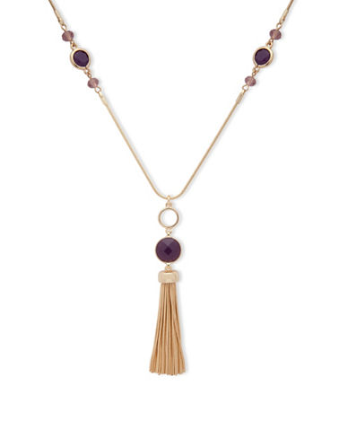 Nine West Snake Chain & Garden Glow Crystals Pendant Necklace-PURPLE-One Size