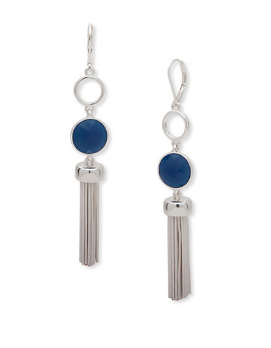 Nine West Snake Chain and Garden Glow Drop Earrings-BLUE-One Size