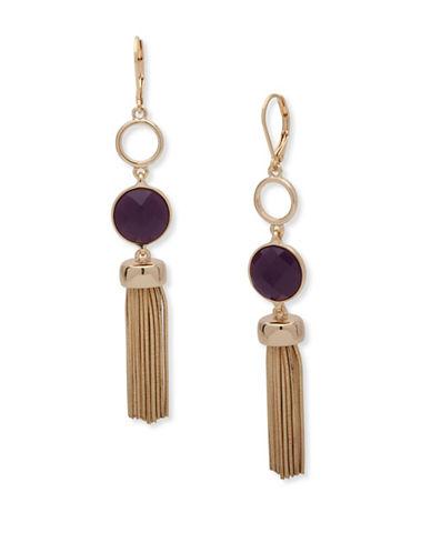 Nine West Snake Chain & Garden Glow Tassel Drop Earrings-PURPLE-One Size