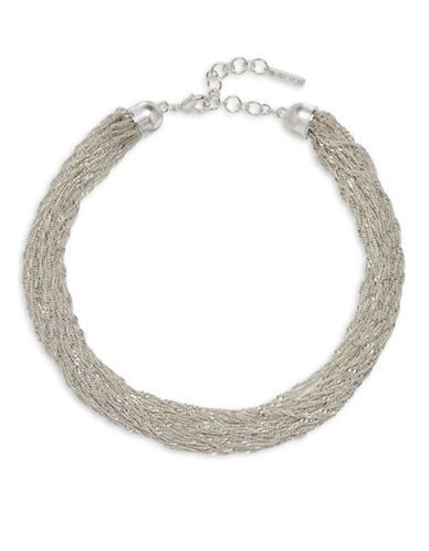 Nine West Forget Me Knot Silvertone Stranded Chain Necklace-SILVER-One Size