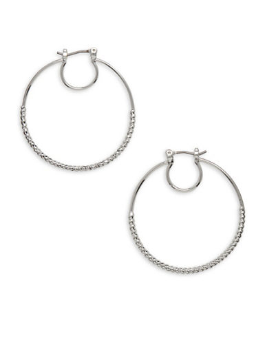Nine West Forget Me Knot Silvertone Circular Hoop Earrings-SILVER-One Size
