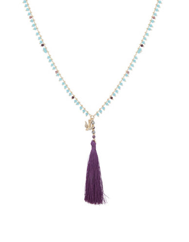 Lonna & Lilly Royal Radiance Beaded Tassel Pendant Necklace-PURPLE-One Size