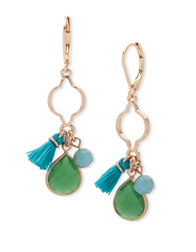 Lonna & Lilly Orchid Skys Goldtone Stone Drop Earrings-GREEN-One Size