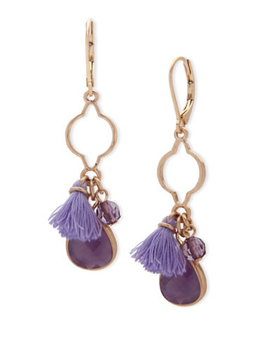 Lonna & Lilly Orchid Skys Goldtone Tanzanite Opal Drop Earrings-PURPLE-One Size