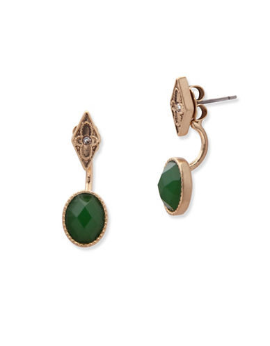 Lonna & Lilly Orchid Skys Faceted Stone Drop Ear Jackets-GREEN-One Size