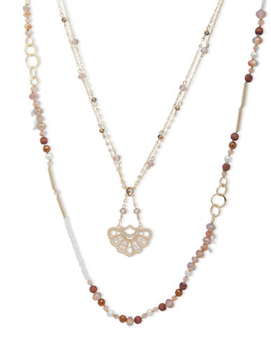 Lonna & Lilly Fallen Leaves Beaded Necklace-BROWN-One Size