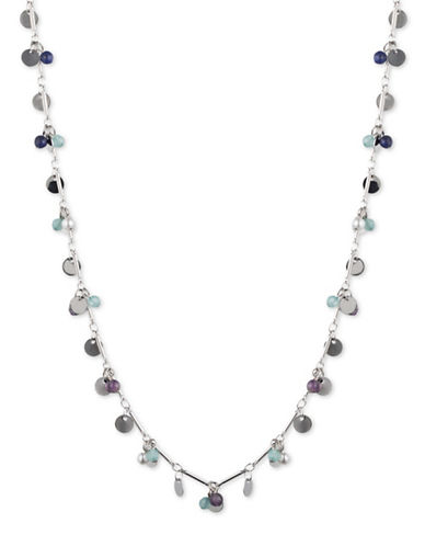 Lonna & Lilly Colour Basics Rhodium Zinc-Plated Shaky Strand Necklace-BLUE-One Size