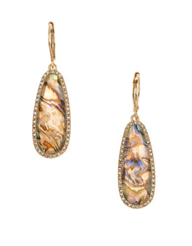 Lonna & Lilly Colour Basics Abalone and 12K Goldplated Drop Earrings-BROWN-One Size