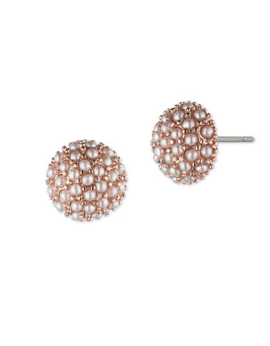 Lonna & Lilly Faux Pearl Button Stud Earrings-ROSE GOLD-One Size