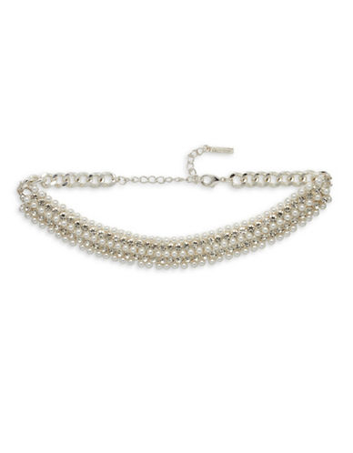 Cezanne Faux Pearl and Pave Choker-WHITE-One Size
