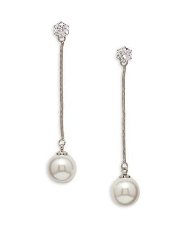 Cezanne Faux Pearl Linear Drop Earrings-WHITE-One Size