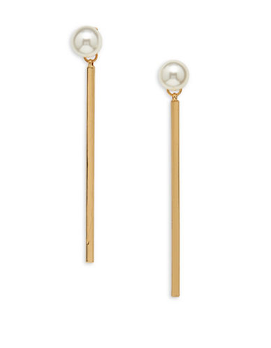 Cezanne Faux Pearl Bar Drop Earrings-WHITE-One Size