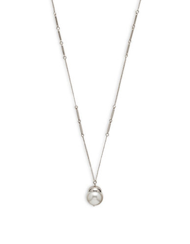 Cezanne Faux-Pearl Pendant Necklace-WHITE-One Size