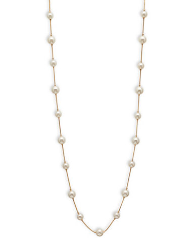 Cezanne Faux-Pearl Station Necklace-WHITE-One Size