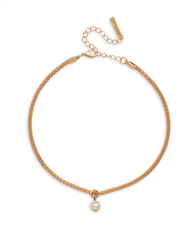 Cezanne Faux Pearl Pendant Choker Necklace-PEARL-One Size