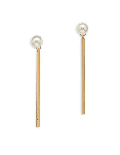 Cezanne Faux Pearl Linear Drop Earrings-PEARL-One Size