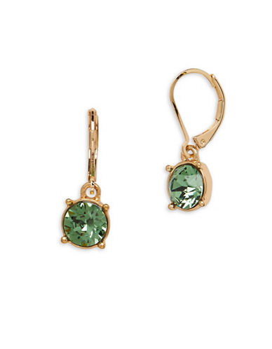 Anne Klein Swarovski Crystal Goldtone Leverback Earrings-GREEN-One Size