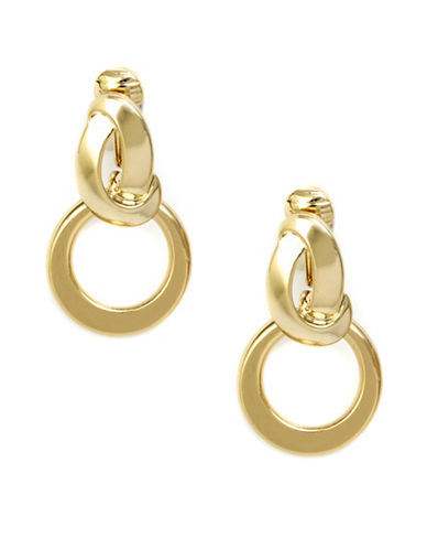 Anne Klein Link Clip-On Earrings-GOLD-One Size