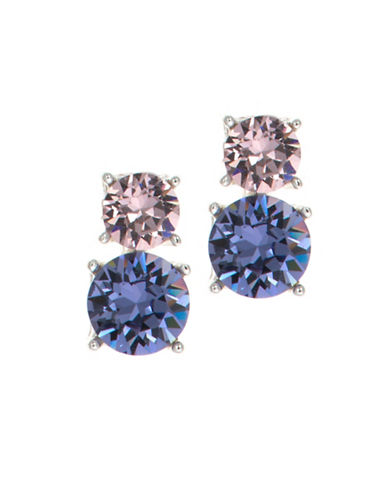 Anne Klein Stacked Crystal Stud Earrings-PURPLE-One Size