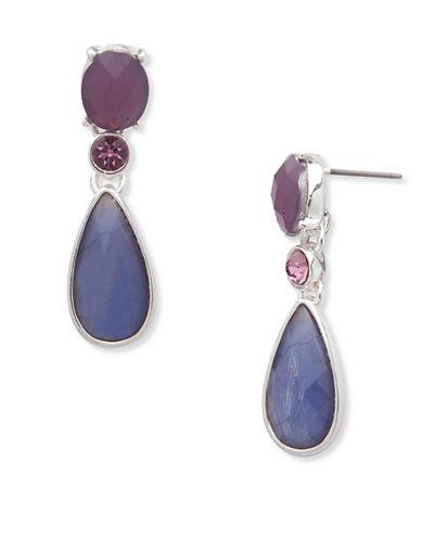 Anne Klein Aventura Pave Drop Earrings-PURPLE-One Size